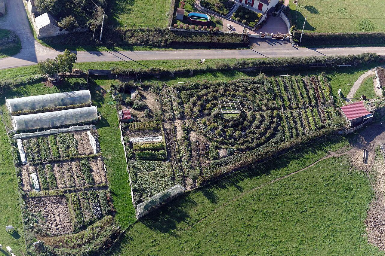 Permaculture farm aerial view
